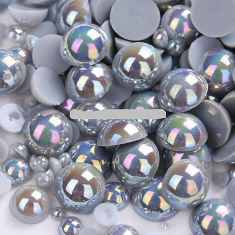 Silver Grey Color Size 8mm 100Pcs/lot Craft ABS Flatback Half Round Pearls Scrapbook Beads For DIY Jewelry Accessories