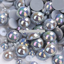 Silver Grey Color Size 8mm 100Pcs/lot Craft ABS Flatback Half Round Pearls Scrapbook Beads For DIY Jewelry Accessories(China)
