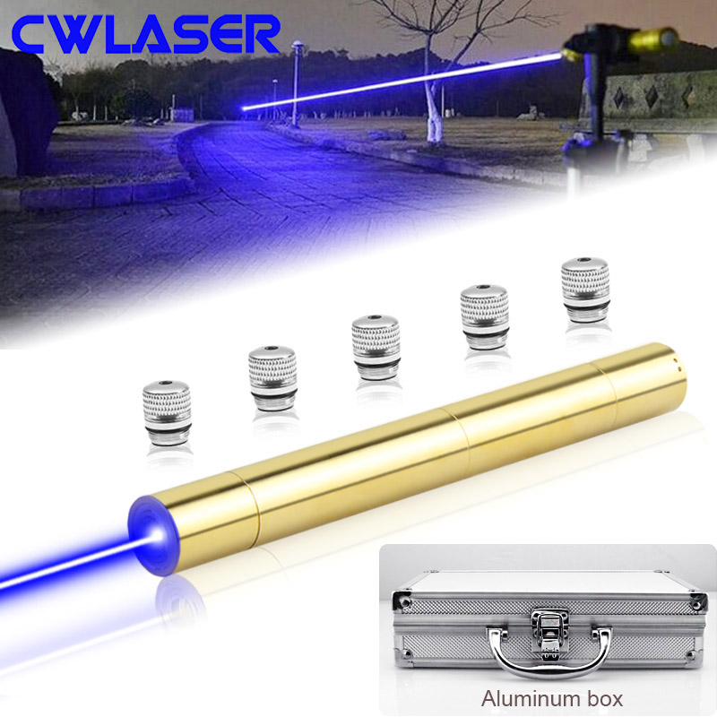 CWLASER 10000-20000m Powerful 450nm Focusable Blue Laser Pointer + Safety Goggles With Luxury Case Blue Burning Laser (Copper)