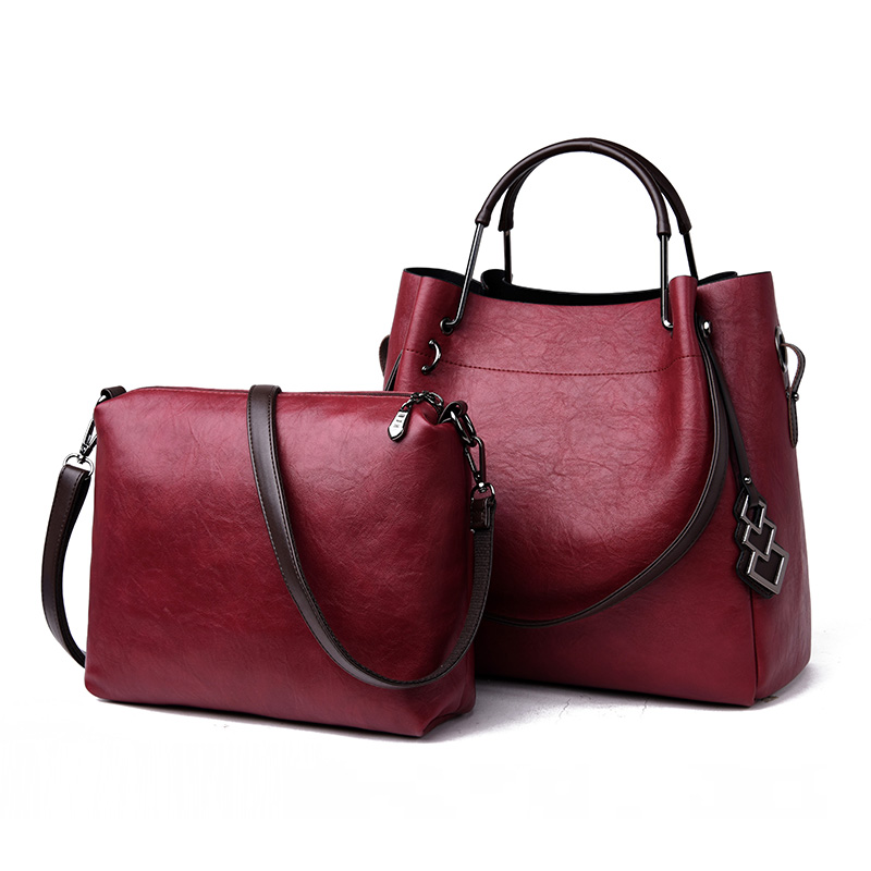 Bag Women Soft Leather 2Pcs Set Composite Bag Mother Large Capacity Female Handbag Tote Bucket Lady Shoulder Bag