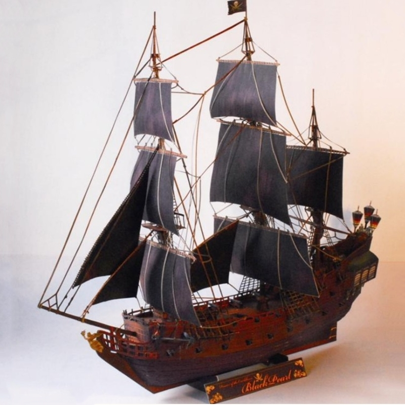 Pirates Caribbean The Black Pearl Fun 3d Paper Diy Miniature Model Kits Puzzle Toys Children Educational Boy Splicing Science children large plastic 3d butterfly dragonfly beetle insect model interesting science activity toys