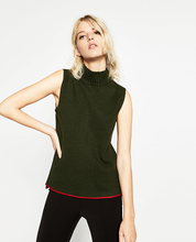 Ladies's Summer time New Half Turtleneck Collar Sweaters Sleeveless Knitted Shirt Each day Life Knitwear Ladies Sweaters Pullovers Vest