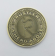 Wholesale manufacturers brass carved letter coins new style double-sided