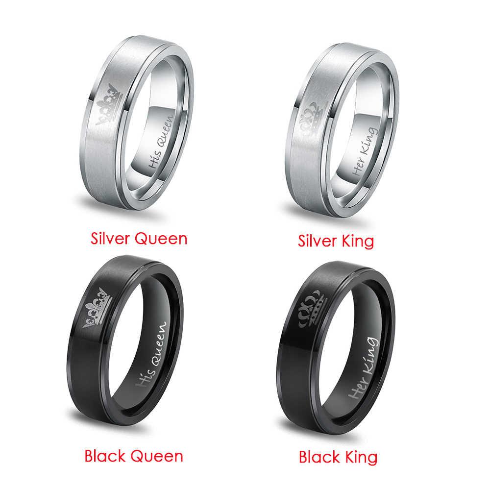 1 pçs moda nova moda vintage anéis de casal de aço inoxidável para amantes casal jóias anéis de festa de casamento atacado