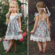 2019 Summer Girl Dress Princess Wedding Party Little Girl Ceremony Flower Lace Dress Backless Clothes 3-7 Years Old 2019 summer girl dress princess wedding party little girl ceremony flower lace dress backless clothes