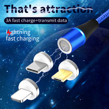 360 Rotable Magnetic Cable For iPhone Lightning Micro Usb Type C Data Transmission Fast Charging Charger LED 3A1m