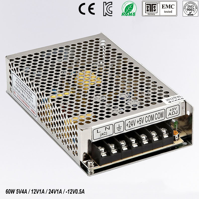 quad output power supply 60W 5V 12V -24V -12V power suply Q-60D Amultiple output ac/dc power supply q 60d four output dc power supply 60w 5v 12v 24v 12v ac dc smps power supply for led driver ac 110v 220v transformer to dc