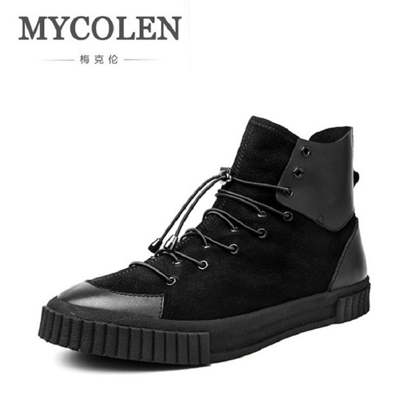 MYCOLEN New Luxury Brand High Top Casual Shoes For Men Leather Lace Up Black Color Mens Shoes Men Black Autumn Zapato Hombre new fashion high top casual shoes for men pu leather lace up all white black color mens casual shoes men high top sneakers