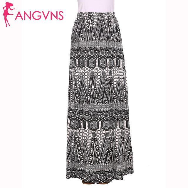 ANGVNS long skirt Women High Elastic Waist Vintage Floral Evening Party Maxi Skirt