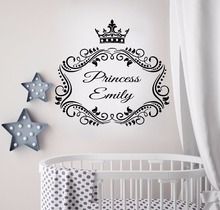 Princess Custom Name Crown Wall Sticker Nursery Art Mural Babys Bedroom Poster Design Decals W39