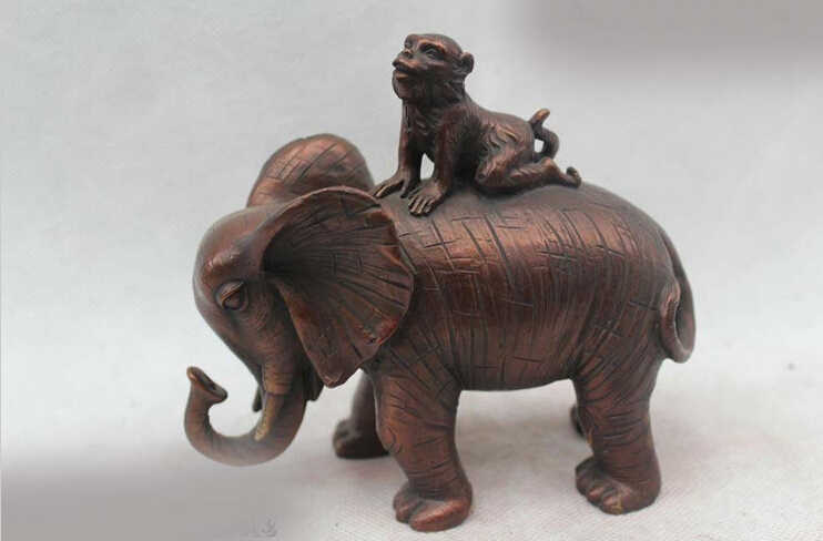 "ZSR 803 + + 5 ""סין עממי הסיני אדום ברונזה כמו בחיים לפסל פסל פיל מזל קוף יושב"