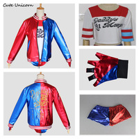 Batman Suicide Squad Harley Quinn Full Set Cosplay Costume Women Clothes Embroided Jacket Shirt Shorts Glove