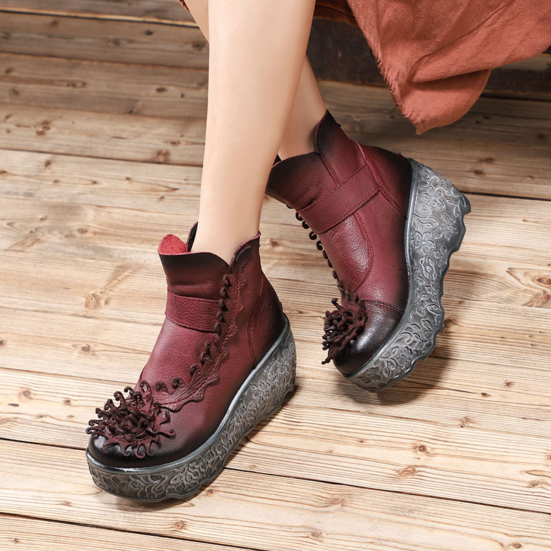 Women Genuine Leather Ankle Boots 7 CM High Heels Wedge Shoes Flower Winter 2018 Black Leather Martin Boots For Women Handmade цена