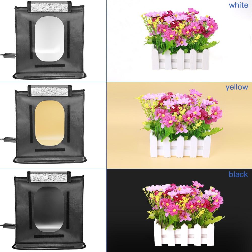 Travor F40 LED Pliant Photo Studio Softbox Lightbox 40*40 lumière Tente avec blanc jaune noir fond Accessoires boîte lumière - 4