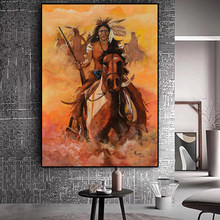 Abstract Native Indian Feather Horse Oil Painting on Canvas Posters and Prints Cuadros Art Wall Picture for Living Room(China)