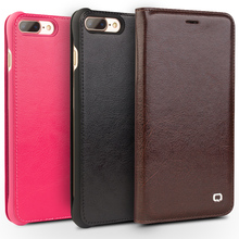 QIALINO Genuine Leather Fashion Phone Cover for iPhone 7 Handmade Luxury Ultra Slim Flip Case for iPhone 7 plus for 4.7/5.5 inch