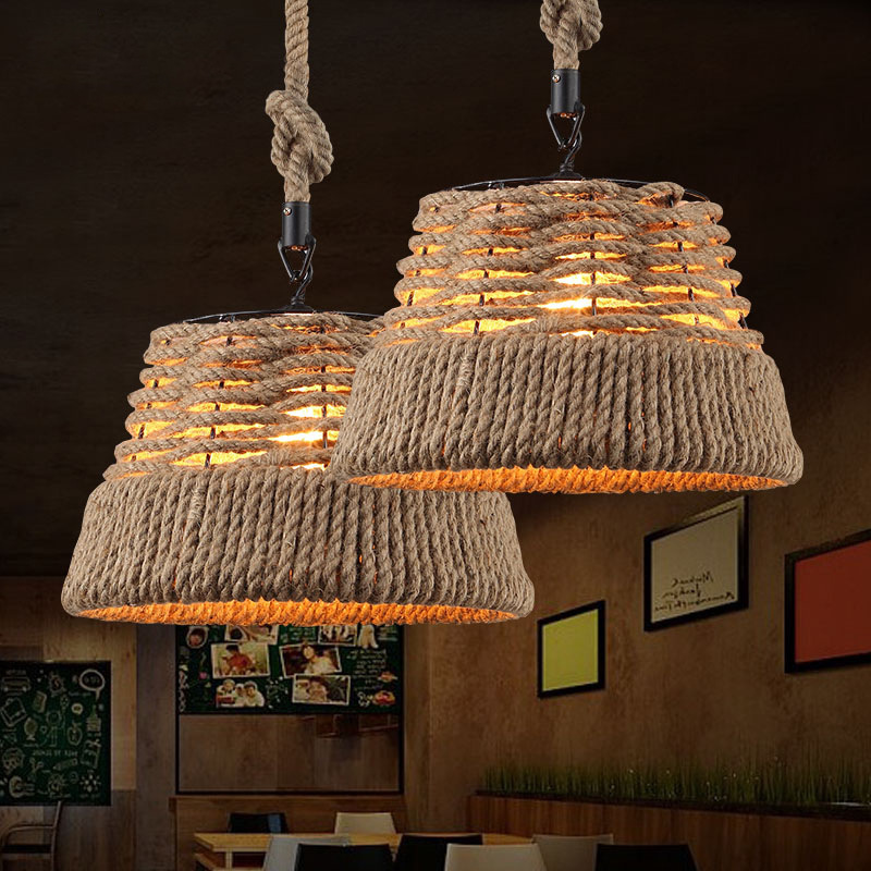 LED chandelier North American Rural creative retro linen cover chandelier chandelier lamp bar hotel balcony aisle rope best price american village vintage chandelier handmade knitted pure hemp rope light retro bar creative balcony aisle light