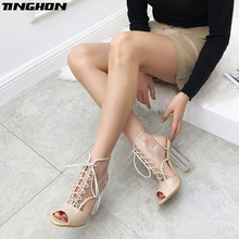 TINGHON Sexy PVC Transparent Ankle Boots Woman Shoes Clear High Heels Pumps Chunky Heel Ladies Bottes Femme Size 35-40