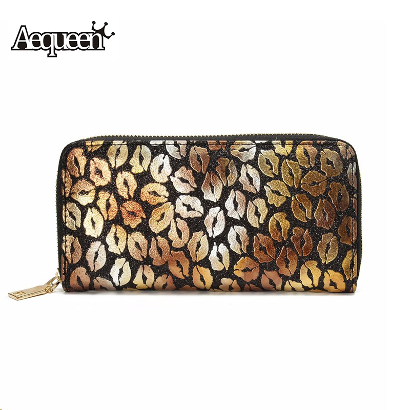 AEQUEEN Lip Leather Wallet Long Coin Purse Women Wallets Shine Lady Clutches Zipper Pouch Money Credit Card Holder Brand Design free shipping new fashion brand women s long wallet purse clutches lady money clip coin phone bag 100