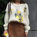 Mujeres Suéteres jerseys 2017 Floral Elegante Bordado Corto de Manga Larga Del Suéter Flojo Jumper Knitting Suéter Femme Tirón E14