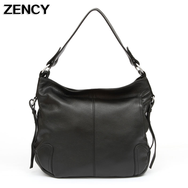 купить ZENCY Genuine First Layer Cow Leather Shoulder Messenger Crossbody Bag Ladies Female Bags Handbags Women Black/Dark Blue/White недорого