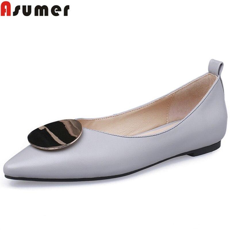 ASUMER 2019 nouveauté chaussures plates en cuir véritable femmes bout pointu sans lacet printemps été chaussures chaussures plates pour décontracté