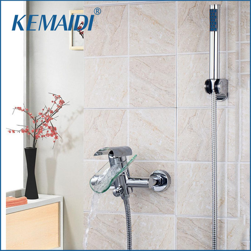 KEMAIDI Wall Mounted Bathroom Waterfall Shower Single Lever Chrome Clear Glass Spout With Handheld Shower Mixer Faucet SetKEMAIDI Wall Mounted Bathroom Waterfall Shower Single Lever Chrome Clear Glass Spout With Handheld Shower Mixer Faucet Set