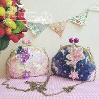 Mujer dulce Dolly Lolita hecho a mano púrpura unicornio bolso kawaii princesa hombro
