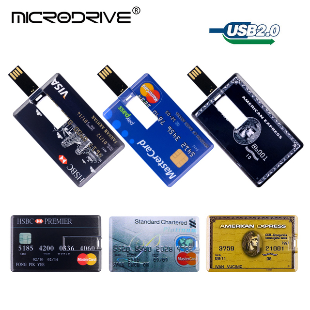 US $2 7 50% OFF|Credit Card Master visa cards HSBC American Express USB  Flash Drive pen 64GB 32G 8G 16G usb bank card Memory Sticks drive pen-in  USB
