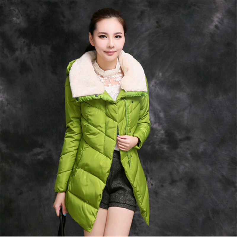Down Padded Jacket Female Women New Winter Parkas Down Cotton Coat Women's Winter Jacket Long Coats Plus Size Fur Collar C1248 aishgwbsj winter women jacket 2017 new hooded female cotton coats padded fur collar parkas plus size overcoats pl155