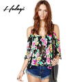Hodoyi Floral Print Women Blouses Shirt Slash Neck Backless Basic Off Shoulder Tops Ladies Casual Cute Street Strap Shirt