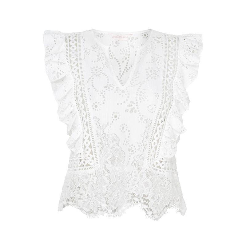 HTB1wZ7rSFXXXXbPaXXXq6xXFXXXq - Lady V Neck Ruffle Crochet Blouse Shirt Sexy Top JKP068