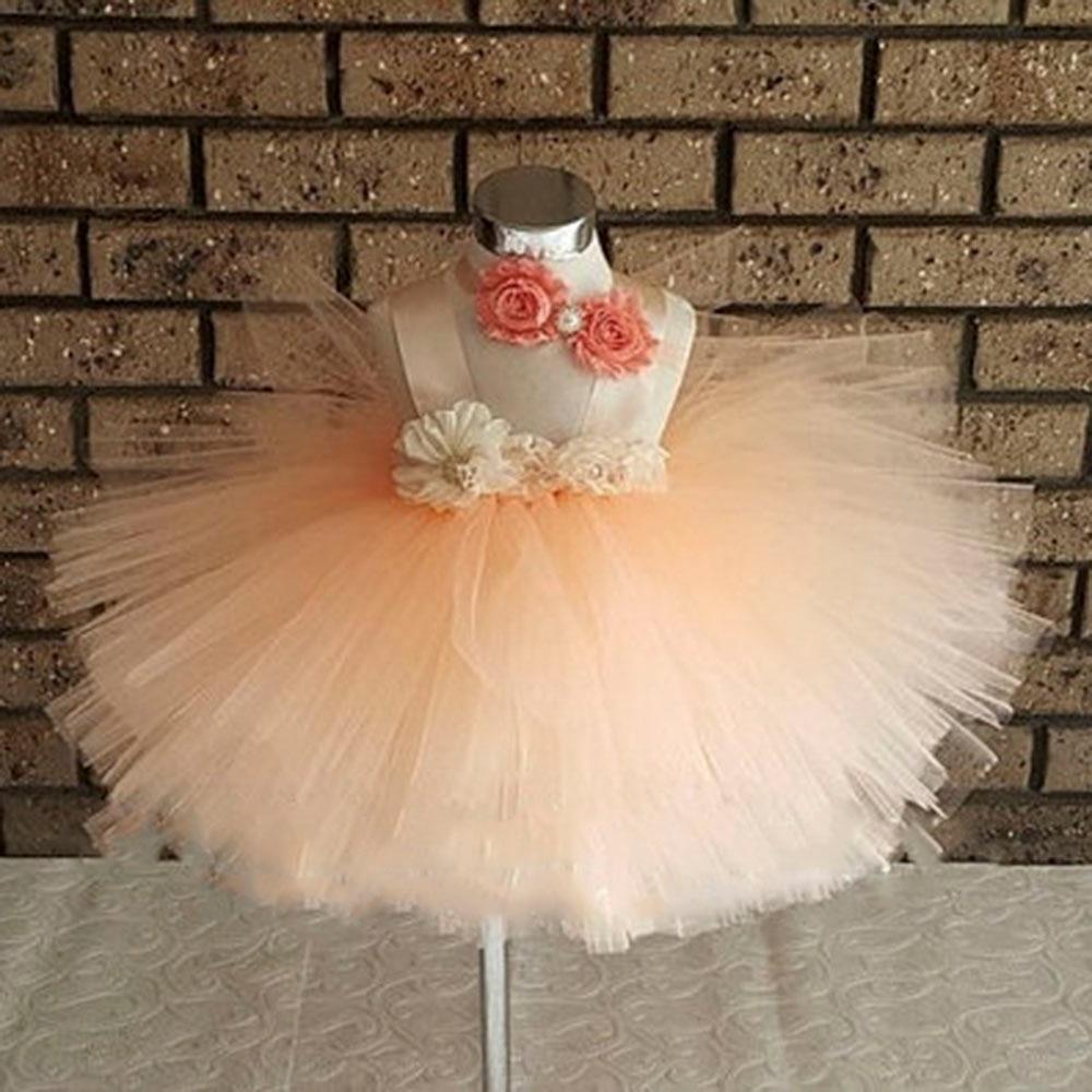 Elegant Peach layered Tutu dress Peach Knee length short Girls Tutu Dress Birthday flower girl Dresses special occassion  PT217 tulle trim layered knee length tee dress