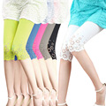 2015 New Arrival Trendy Ladies Cotton Skinny Cropped Hollow Pattern Stretch Leggings H9