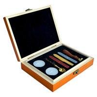 Metal Handle Custom Made Sealing Wax Set In Wooden Box For DIY Wedding Invitation Decor Spoon