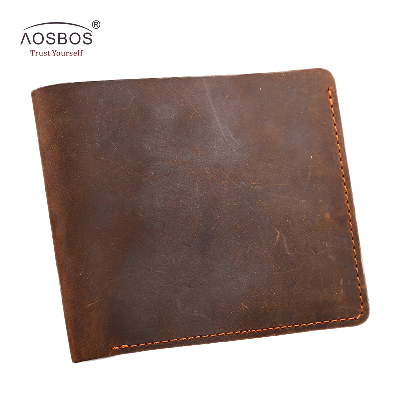 Aosbos newest top quality genuine leather men wallets fashion short  vintage luxury wallet card holder thin slim purse wallet 2017 new cowhide genuine leather men wallets fashion purse with card holder hight quality vintage short wallet clutch wrist bag