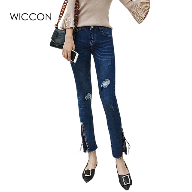 3d8d10ff3b Alta cintura jeans Mujer flaco Oficina señora Flare pantalones roto casual  mujer Jean pierna dividida encaje