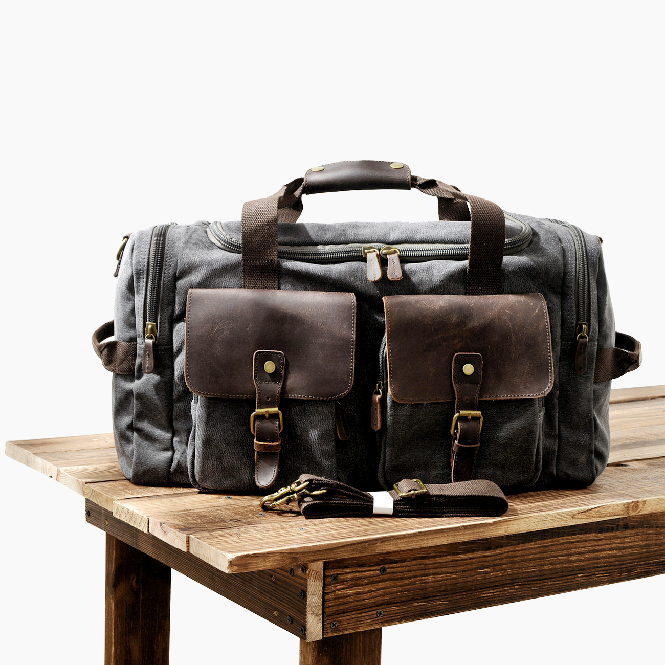 MUCHUAN Mens Canvas Leather Travel Bags Carry on Luggage Handbags Big Traveling Duffel Bags Tote Large