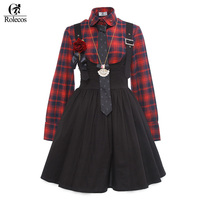 Rolecos Brand Black Red Lolita Dress Japanese Harajuku Cosplay Costume Red Black Plaid Shirt Sweet Princess