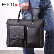 AETOO Mens handbag leather horizontal business casual shoulder crossbody bag male head layer cowhide Briefcase
