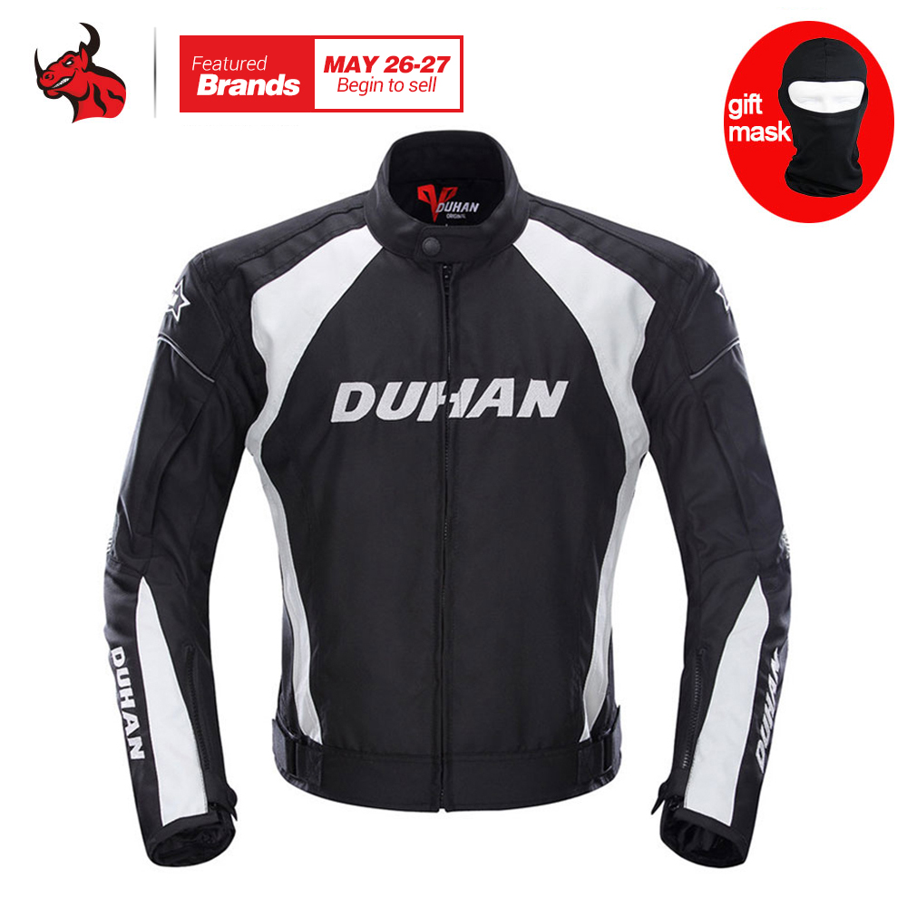 DUHAN Mens Motorcycle Jacket Moto Windproof Racing Jacket Clothing Protective Gear With Five Protector Guards Motorbike Jacket