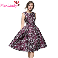 Maxlindy Kleid Swing Vintage Inspirierte Frauen Kleid Lila Blumenmuster Schlank Vestidos Casual Party Maxi Schaukel Kleid Robe