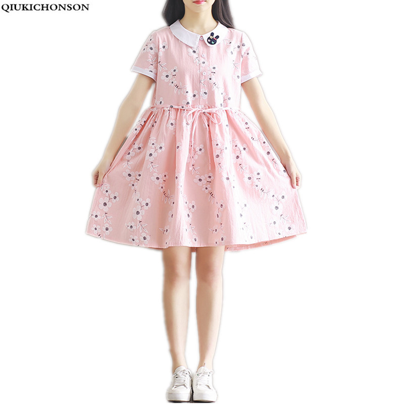 peter pan collar cute plus size ladies dresses 2018 summer women kawaii preppy style emb ...