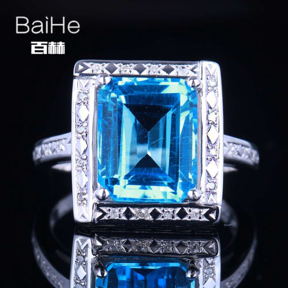 BAIHE Sterling Silver 925 4.36ct Certified Emerald Flawless 100% Genuine Blue Topaz Engagement Women Classic Fine Jewelry Ring