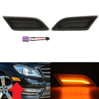 2x Smoked Len Amber LED Side Marker Light For Mercedes W204 C250 C300 C350 2012 2015
