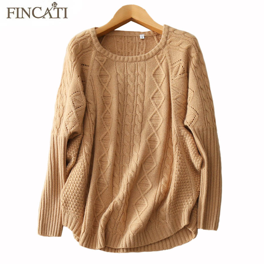 Cashmere Sweaters 2018 Autumn Winter Women 100% Pure Cashmere Geometric Design Knitted Batwing Sleeve Sweater Bottom Shirt