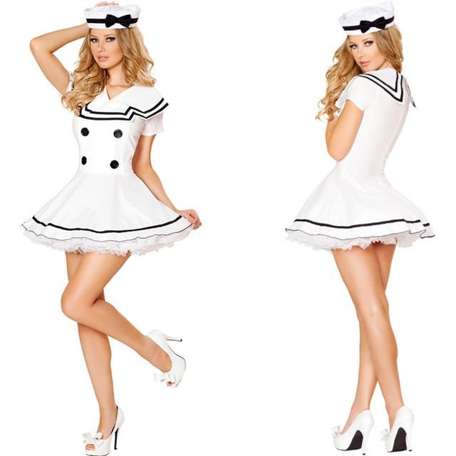 Carnavalskleding Marine Dames.Mooie Witte Kant Mini Dress Sexy Stewardess Uniform Erotische Marine