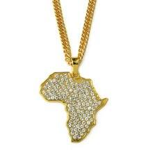 NYUK Карта Африки 90 См 2 Цвета Ссылка ChainGold Серебряные Женщины Мужчины Хип-Хоп Кулон Ожерелья Геометрическая Ожерелья Рождественский Подарок