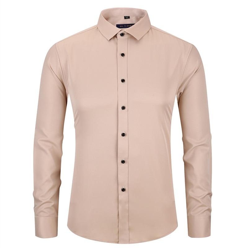 Pflichtbewusst Bambus Faser Männer Kleid Shirt Khaki Elasticty Slim Fit Langarm Männlichen Casual Hemd Schmerzen Haben Herrenbekleidung & Zubehör Hemden