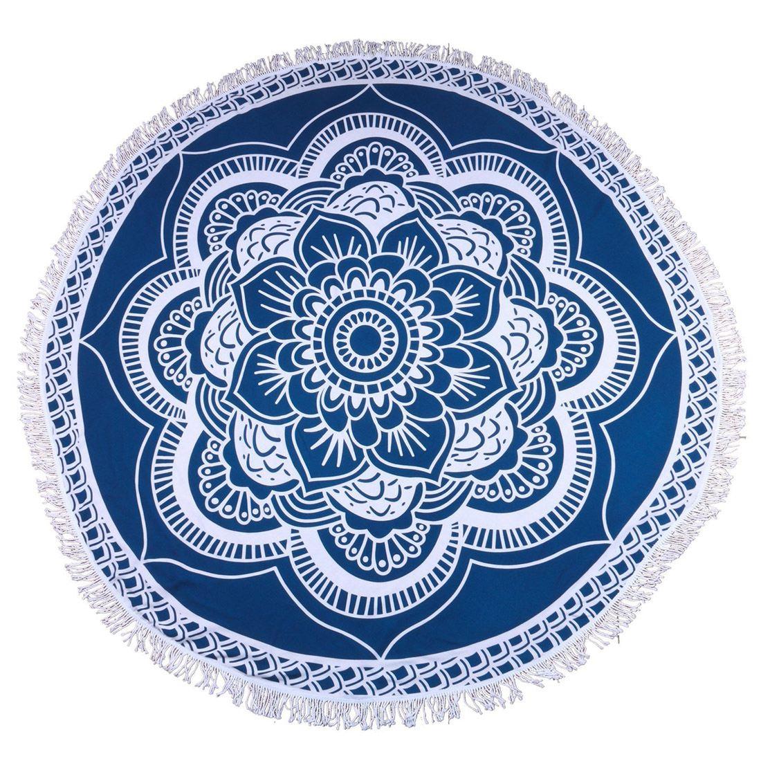 <+>  Мандала Круглый Roundie Beach Одеяло Throw Кисточка Крупногабаритный Коврик для йоги Blue Lotus ✔